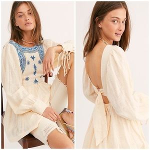 NWT Free People Bali Birdie Embroidered Top S
